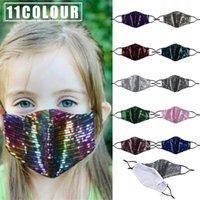 أزياء الأطفال 11 ألوان بلينغ بلينغ الترتر قناع واقية PM2.5 الغبار الأطفال أقنعة الفم قابل للغسل قابلة لإعادة الاستخدام قناع الوجه الطفل