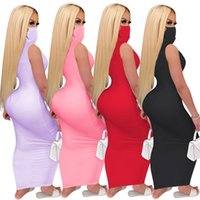 Summer Womens 2020 Solid Color Mask Conjoined Nightclub Dress S-2xl Long T-shirt Sleeveless Bodycon Dresses Dhl Free