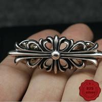 S925 prata broche de personalidade de moda presente da forma do punk dança de rua jóias simples cruz forma de flor carta para o amante