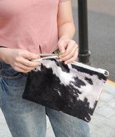 New Comer Black Suede vache Clutch, Lady Fur peau de vache Casual Wristlet DOM1061431 Crossbody