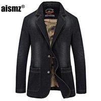 Erkek Takım Elbise Blazers Aismz Sonbahar Kış Blazer Erkekler Pamuk Denim Akıllı Rahat Ceket Slim Fit Marka Giyim Artı Boyutu M-XXXXL