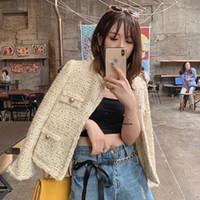 작은 향기 O 목 패치 워크 자켓 여성 한국어 트위드 짧은 코트 팜므 우아한 Chaquetas Mujer 2020 가을 신상품 QT73
