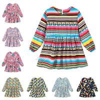 2020 년 봄 아기 소녀 드레스 유행 소녀 공주 드레스 귀여운 긴 소매 원피스 드레스 플로라 스트라이프 인쇄 의류 90~130cm 새 D82005