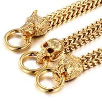 "Gold Tone homens New Style aço inoxidável 316L wristed Bracelet Bangle Jewelry 12 milímetros Gift * 8.66"""