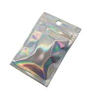 100pcs Einzelhandel Clear Front Zip-Verschluss Aluminiumfolie Paket-Beutel Reclosable Holographic Mylar Lagerung Fall-Loch-Taschen für elektronische Lebensmittel
