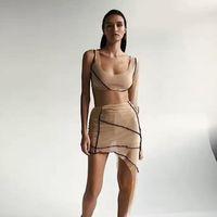 여성 디자이너 패치 워크 두 종 세트 캐주얼 자르기 최고 두 조각 불규칙한 드레스 패션 봄 여름 어깨 하나 두 조각 정장 Vestidos