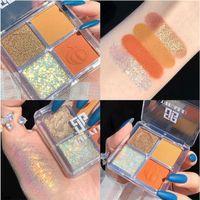 Новый 4 цвета Блеск Eyeshadow Макияж Pallete Матовый Eye Shadow Palette Shimmer И Пигмент Алмазный порошок Eyeshadow Shine Cosmetics 0015