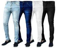 Прямые джинсы Solid Color Тощий Карандаш Брюки Zipper Fly Упругие Force Мужской Одежда Мода Мужские Deaigner