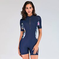 Womens One Piece Zip Rash avant Garde Surfing Maillot shorty manches courtes Athletic Maillots de bain plongée Costume mince Combinaison