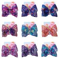 8inch Jojo Siwa grande da curva Hairpin Mermaid Escalas Designers hairbows grampo grampos Barrette Bebés Meninas Cabelo com Pacote Headress Acessórios D82708