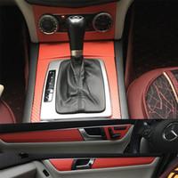 مركز السيارات التصميم من ألياف الكربون سيارة الداخلية حدة تغير لون صب لاصق ملصق مائي لمرسيدس بنز الفئة C W204 2007-10