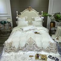 Weißer Luxus Europäische Palace Bettwäsche aus ägyptischer Baumwolle 1000TC Goldstickerei Bettbezug Bettwäsche Wohnung / Spannbettlaken Kissen-