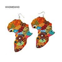 Tribal África Madeira Mapa DIY colorido Pintura Afro brincos rodada do vintage de madeira Boho Africano Bohemia orelha de jóias Partido Acessório