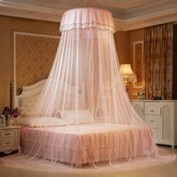 Romântico Hung Dome Mosquito Nets para o verão, Home Textile Cama poliéster malha, Round Lace Insect Bed Canopy Netting Curtain