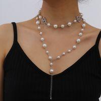 Барочная имитация жемчуга длинные бусины ожерелья из бисера полые алмазные сердца ожерелье для женщин элегантная вечеринка ювелирные изделия двойной слой серебряное ожерелье