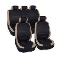 سيزونز WINSUN 9PCS عامة مقاعد 5 مقاعد سيارة يغطي مجموعة بيج أسود