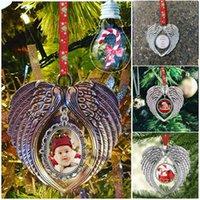 Weihnachtsverzierung-Dekorationen DIY-Engels-Flügel-Form-Blank Fügen Sie Ihr eigenes Bild und Hintergrund Weihnachten Pendent Geschenke Charms F92401