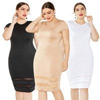 النساء الملابس Soild اللون مش نصب منصة مثير Bydcon موضة اللباس سليم كم قصير مصمم اللباس زائد الحجم