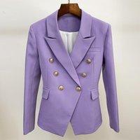 Kadın Takım Elbise Blazers EST S-XXXL Artı Boyutu Menekşe Blazer Suit Klasik Altın Kruvaze Düğmeler Ofis Bayan Kadın Ceket Yüksek Kalite