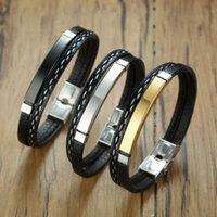 Hot vente en cuir-couche Mult noir Bracelet Homme Charm Bar en acier inoxydable Homme Femme Bijoux