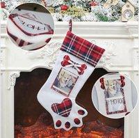 양말 홈 크리스마스 파티 장식을 매달려 크리스마스 스타킹 개 발과 함께 사진 홀더 크리스마스 트리 장식 스타킹 LJJP542 공급
