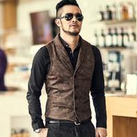 Men's Casual Suede Gilet Vest Jacket Warm Sleeveless Warm Vintage Retro Coat for Autumn Winter black brown