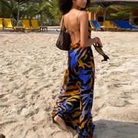 Imprimer Maxi Robe Femmes Sexy bas Cowl Cut Neck Lace Up Retour Sexy Robes de soirée Mer Club Wear Robe longue 2020 Nouveau