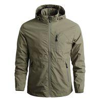 Herren Bomberjacke Tactical Wasserdichte Jacken mit Kapuze Mäntel Männer Outdoor Sports Quick Dry Jacke Leichte Mantel 5XL