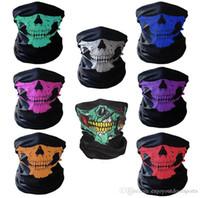 Maschere biciclette Ski Skull Maschera di protezione mezza fantasma Sciarpa foulard magico Multi Uso Warmer Snowboard Cappellino regalo di Halloween Accessori Cosplay