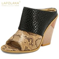 Lapolaka 2020 Toptan Moda Marka Yüksek Topuklar Büyük Boy 48 takozları Ayakkabı Kadınlar Yaz Sandal Terlik Mules Kadın pompaları