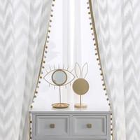 Oturma odası Mutfak için 2adet Modern Dalga Stil Pencere Tül Perde Süt Beyaz Villa Dekorasyon Işık İletim Perdeler