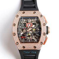 최고 버전 RM011 해골 다이얼 로즈 골드 다이아몬드 케이스 7750 자동 기계식 운동 RM011 망 시계 검은 고무 스트랩 럭셔리 시계