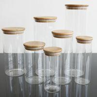 DIY Transparent кухня из стекла Канистры Jar хранения Corks крышку Кувшины Бутылки для песка жидких продуктов Экологии стеклянных бутылок с Bamboo крышкой