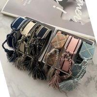 Gioielli di lusso della Designer Donna Uomo Bracciali Moda intrecciato nappa braccialetto 34 Bracciale ricamati Lovers stile di alta qualità