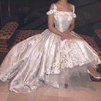 evlilik de Beyaz Vintage Dantel Aplikler Balo Gelinlik Ön Kısa Uzun Arka Kristal 2015 Arapça Gelinlikler elbise