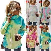 Sherpa Fleece Pullover Frauen Tunika Sweatshirt Tie-Dye-Plüsch-verdicken warme Pelz Pullover Rollkragenpullover Steigungs-Designer Tops D82609