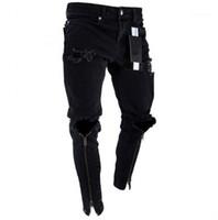 Agujeros Diseñador Jeans Negro rasgado Slim Fit Represen lápiz de los pantalones para hombre de la cremallera Multi Estilo
