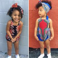 Детские Прекрасные африканские Традиционная одежда Базен Riche Printed Rompers оголовье Dashiki Летняя мода Девушки Boho Backless Комбинезон