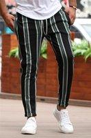 Kalem Pantolon Moda Erkekler Pantolon Çizgili Baskılı Erkek Tasarımcı Pantolon Günlük Sade İnce Numune Spor İpli