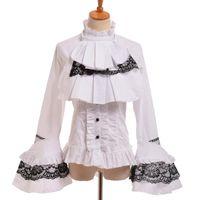 Blusas de las mujeres Camisas Blusa gótica negra Mujer Vintage Steampunk Elegante Princesa Empire Cintura Real Lace Up Lolita Jabot Camisa Tops Tops