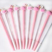 Kawaii Flamingo Swan Jel Kalem Siyah Dolum işaret pembe beyaz kalem ofis aksesuarları okul malzemeleri komik kore kırtasiye hediye