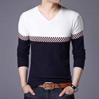 Suéteres de Hombres Alta Calidad Para Hombres Autumn Plaid Suéter Manga Larga Cuello en V Hombre Slim Fit Hombre Junto Jersey Rayado