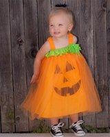 할로윈 공주 의상 호박 마녀 코스프레 드레스 어린이 의류 아기 소녀 할로윈 소서리스 파티 드레스 스커트 의류 E9201