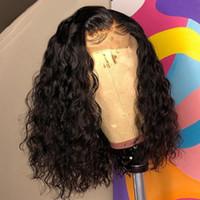 Bouclés 4 * 4 Fermeture courte perruque Perruques humaine vierge cheveux perruques pour les femmes noires 130% 150% 180% de la densité Remy preplucked bébé cheveux légers noeuds blanchies