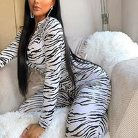 White Tiger Skin Print Jumpsuits Women Zipper Bodycon Sexy A...