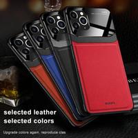 İPhone 12 11 Pro Max XS MAX PU Deri Temperli Cam Telefon Arka Kapak iphone 7 8 6 6 S Artı XR Max Coque