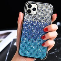 Gradient Glitter Soft TPU Full Crystal Diamond Case For iPhone 12 11 Pro XR XS Max X 8 7 6 SE 2020 Samsung S10 Plus Note 10 10+ 20 Ultra