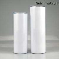 US Stock 20oz 30oz 승화 공백 스트레이트 스키니 텀블러 스테인레스 스틸 빈 흰색 스키니 컵 뚜껑 밀짚 실린더 물병 커피