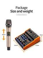 Freeshipping Bluetooth-Audiomischer 4-Kanal mit UHF-WLAN-Mikrofon MP3 USB-Eingang 48V-Phantom-Leistung digitaler Audio-Sound-Mixer