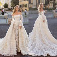 Luxus Meerjungfrau Brautkleider mit abnehmbarem Zug Applizierte Spitze Tiered Brautkleider lange Ärmel Maßgeschneiderte lange Hochzeitskleid